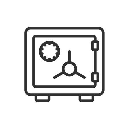 Money safe thin line. Strongbox line icon. Vector illustration. Eps 10. 向量圖像