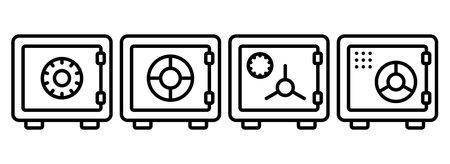 Set of money safe thin line. Strongbox line icon. Vector illustration. Eps 10.