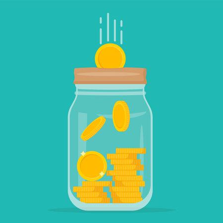 Glass money jar full of gold coins. Symbol of wealth. Business success. Vector illustration. Web banner. Eps 10. 向量圖像
