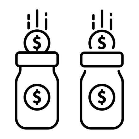 Glass money jar full of gold coins. Saving dollar coin in moneybox. Vector illustration. Web banner. Eps 10.