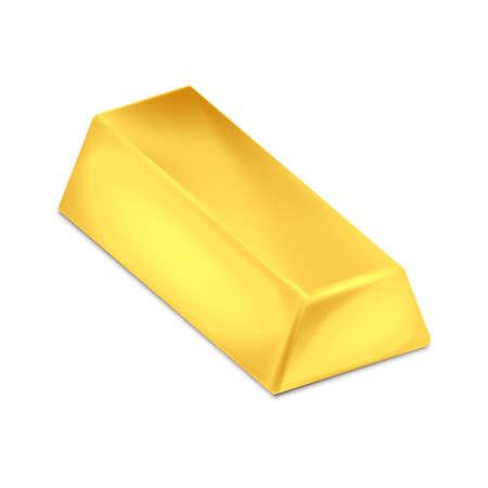 Gold bar isolated on white background. Vector illustration. Eps 10.