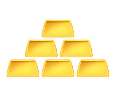 Golden Bars Pyramid isolated on white background. Vector illustration. Eps 10.