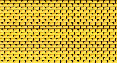 Wall of many gold bars background. Stacks of gold bars. Seam pattern. Vector illustration. Eps 10. 向量圖像