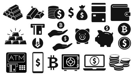 Banking and Finance icon. Set of Money and payment symbol. Vector illustration. Eps 10. 向量圖像