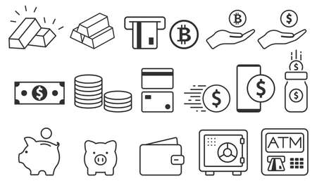 Money and payment line icons. Dollar and Cash icon set. Vector illustration. Eps 10.