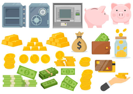 Banking and Finance flat icon. Set of Money and payment object. Vector illustration. Eps 10. 向量圖像