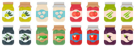 Autumn harvesting and canning set. Jars with pickled and canned vegetables. Vector illustration. Eps 10. 向量圖像