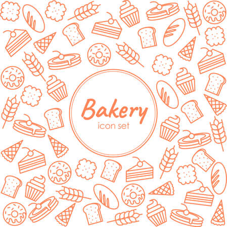 Bakery icons poster template. Vector food line icons, illustration of sweets, pretzel, croissant, cupcake, pie, bread. Pastry banner with place for text.