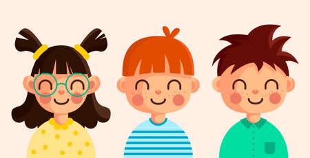 Funny kids. Vector cute boys and girls collection. Cartoon children avatar set. Cute diverse kids faces, vector clipart illustration. Illustration