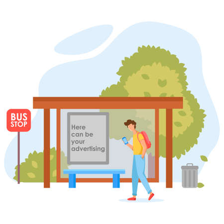 Man with a backpack, in blue pants and a yellow T-shirt, at a bus stop, waiting for a bus. At the bus stop there is a place for advertising. Flat vector illustration.