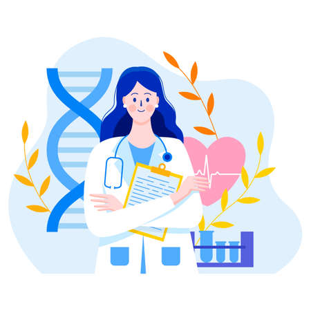 Medicine concept with a doctor in thin style. Practicing young doctor woman with documents. In the background are medical elements. Test tubes, heart, cardiogram, DNA, leaves. Consultations and diagnostics.