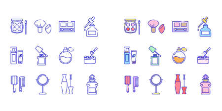 Line icons set of beauty and cosmetics icons. Included icons in the form of blush, brush, serum, lotion, nail polish, perfume, powder, comb, mirror, mascara