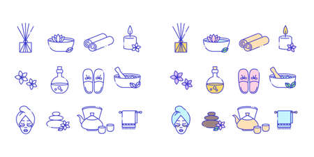 Line icons set of spa icons. Included are badges in the form of candles, aromatheater, towels, flowers, teapot, slippers, face, oil Illustration