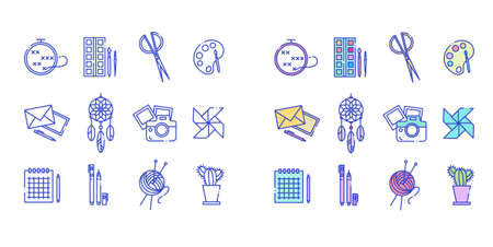 Line icons set of art and craft icons. Included are badges in the form of embroidery, paints, scissors, palette, letters, camera, origami, notebook, pen