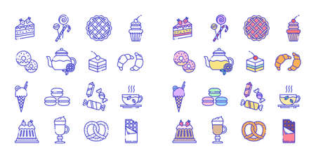 Line icons set of bakery and sweets icons. Included are badges in the form of cake, lollipops, pie, cupcake, donut, tea, croissant, ice cream, sweets, chocolate