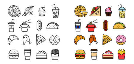 icon set of food related outline design, included as pizza, sandwich, cake, lemonade, wok, hot dog, tacos, croissant, fried chicken, pizza slice, donut, burger, coffee, cupcake, french fries 向量圖像