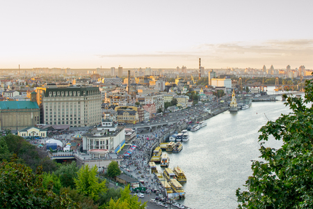 Kiev. View of the Dnieper River and area Podol.