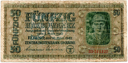miserly: The old banknotes of the German 1942. Isolated on a white background. Currently not used.