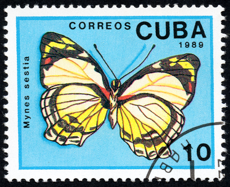 UKRAINE - CIRCA 2017: A stamp printed in Cuba, shows image of a butterfly Mynes sestia close-up, circa 1989