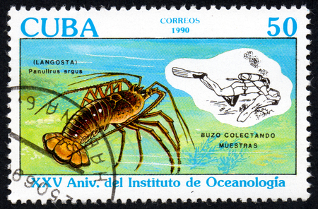 comprise: UKRAINE - CIRCA 2017: a stamp printed in Cuba shows lobsters, crabs, sea large cancer. The diver diving collecting lobster, around 1990