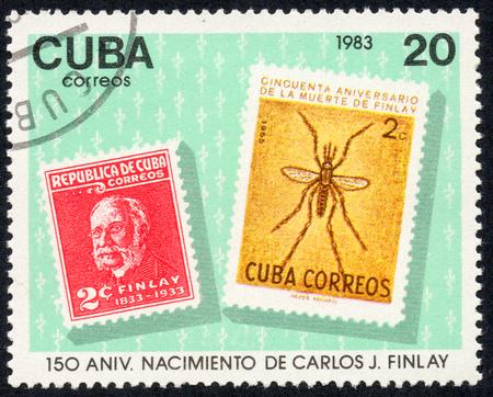 UKRAINE - CIRCA 2017: A stamp printed in Cuba, shows a 150 anniversary nacimiento de Carlos J. Finlay , circa 1983