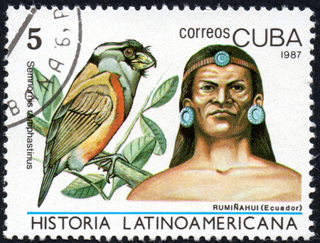 comprise: UKRAINE - CIRCA 2017: A stamp printed in Cuba, shows Image of a chieftain Ruminahui Ecuador and bird Toucan Barbet Semnornis ramphastinus, the series Latin American history, circa 1987 Editorial