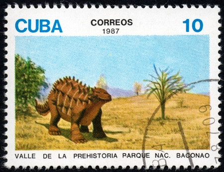 philately: UKRAINE - CIRCA 2017: A stamp printed in Cuba, shows a extinct animals from the park of dinosaurs in the reserve Baconao, the series Valle de la prehistoria parque nac. Baconao, circa 1987
