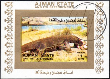 UKRAINE - CIRCA 2017: A stamp printed in AJMAN STATE and its dependencies United Arab Emirates shows varan, series animals, circa 1973 報道画像