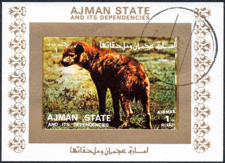 dependencies: UKRAINE - CIRCA 2017: A stamp printed in AJMAN STATE and its dependencies United Arab Emirates shows animal, series animals, circa 1973