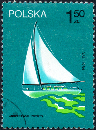 UKRAINE - CIRCA 2017: A stamp printed in Poland shows old sailing yacht Dal participated in the circumnavigation in 1934, circa 1974 Editorial