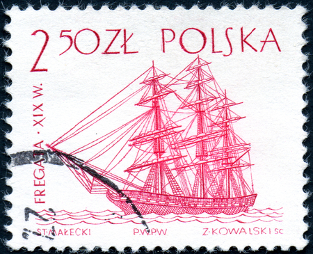 UKRAINE - CIRCA 2017: A stamp printed in Poland shows a historic frigate sailing ship, sailing ship used to be the fastest around until the XVIII Century, circa 1963