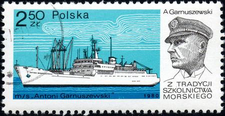 UKRAINE - CIRCA 2017: A stamp printed in POLAND shows Tradition Marine School captain Antoni Garnuszewski and Chip Antoni Garnuszewski, circa 1980