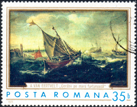 rumania: UKRAINE - CIRCA 2017: A stamp printed in the Romania shows ships in the storm by Andries van Eertvelt 1590-1652, circa 1971 Editorial