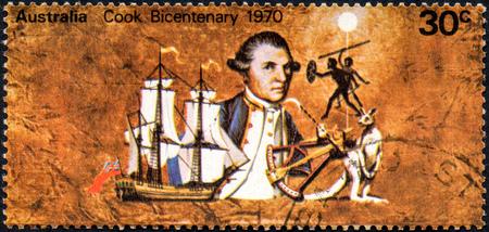 UKRAINE - CIRCA 2017: A stamp printed Australia, shows Captain Cook bicentenary, circa 1970