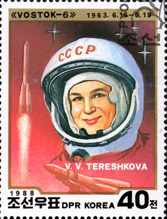 UKRAINE - CIRCA 2017: A stamp printed in DPR KOREA shows first cosmonaut woman V. V. Tereshkova, circa 1988