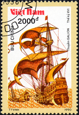 UKRAINE - CIRCA 2017: A postage stamp printed in Vietnam shows old sailing ship Galion, series Ancient boats, 2000d, circa 1990 Editorial