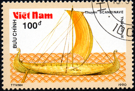 UKRAINE - CIRCA 2017: A postage stamp printed in Vietnam shows old sailing ship Scandinave, series Ancient boats, 100d, circa 1990 Editorial