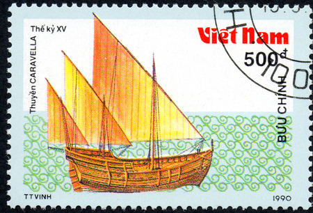 UKRAINE - CIRCA 2017: A postage stamp printed in Vietnam shows old sailing ship Caravella, series Ancient boats, 500d, circa 1990