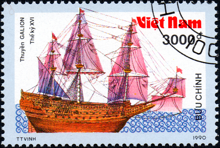 UKRAINE - CIRCA 2017: A postage stamp printed in Vietnam shows old sailing ship Galion, series Ancient boats, 3000d, circa 1990 Editorial