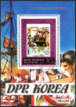 UKRAINE - CIRCA 2017: A postage stamp printed in DPR North Korea shows James Cook, serie The Conqueror of the Sea, circa 1980 Editorial