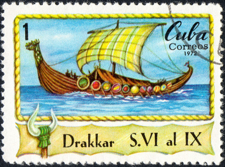 philately: UKRAINE - CIRCA 2017: A postage stamp printed in Cuba shows Drakkar viking Boat, circa 1972
