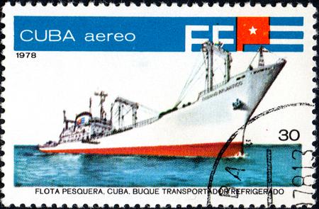 UKRAINE - CIRCA 2017: A postage stamp printed in Cuba shows fish factory ship Oceano Atlantico, series Fishing Fleet, circa 1978