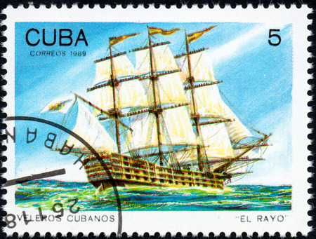 UKRAINE - CIRCA 2017: A postage stamp printed in Cuba shows sailing ship El Rayo, from the series Cuban sailboats, circa 1989 Editorial