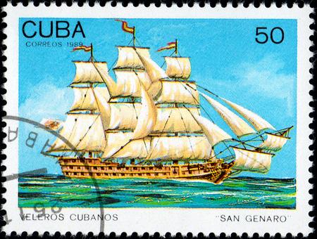 UKRAINE - CIRCA 2017: A postage stamp printed in Cuba shows sailing ship San Genaro, from the series Cuban sailboats, circa 1989