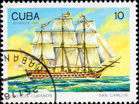 philately: UKRAINE - CIRCA 2017: A postage stamp printed in Cuba shows sailing ship San Carlos, from the series Cuban sailboats, circa 1989 Editorial