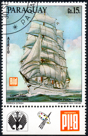 UKRAINE - CIRCA 2017: A postage stamp printed in Paraguay shows Gorch Fock three-masted barque, built for educational purposes commissioned by the German Navy, circa 1958 Editorial