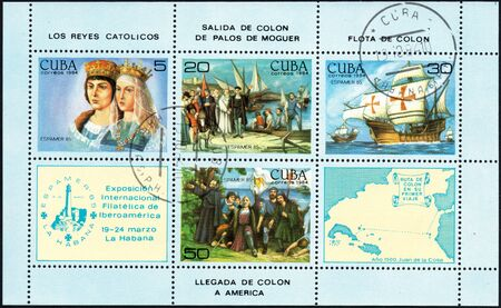 philately: UKRAINE - CIRCA 2017: A postage stamp printed in Cuba shows scenes related to the discovery of America by Columbus, from the series International Philately Exhibition of Iberoamerica, circa 1984