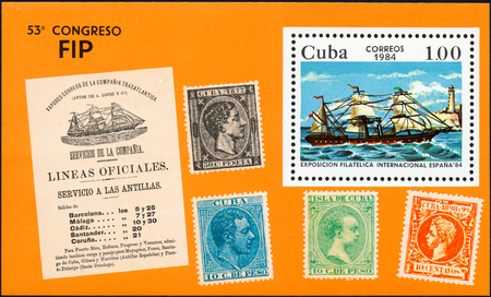 UKRAINE - CIRCA 2017: A postage stamp printed in Cuba shows shows old sailing ship with white sails, from the series International philatelist exposition Espana 84, circa 1984
