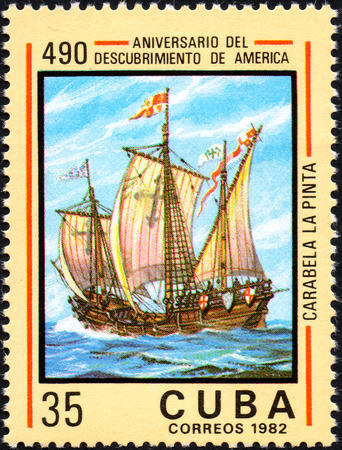 pinta: UKRAINE - CIRCA 2017: A postage stamp printed in Cuba shows caravelle Pinta, from the series Anniversary of the 490 discovery of America, circa 1982
