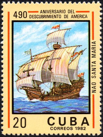 philately: UKRAINE - CIRCA 2017: A postage stamp printed in Cuba shows ship Santa Maria, from the series Anniversary of the 490 discovery of America, circa 1982